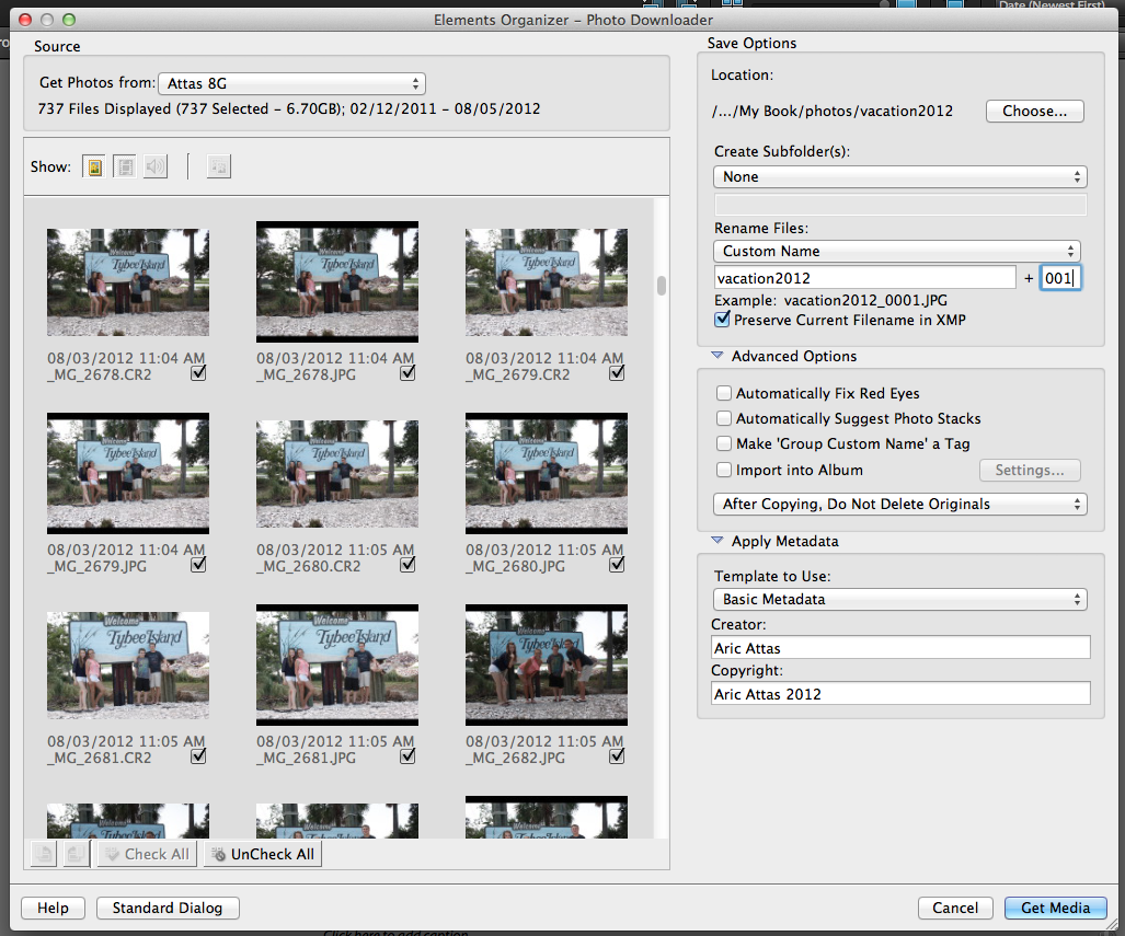 Importing photos using adobe bridge cc using photoshop elements camera downloader ccuart Gallery