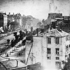 Louis-Jacques-Mandé Daguerre, Boulevard du Temple, Paris, 1838, Daguerrotype.