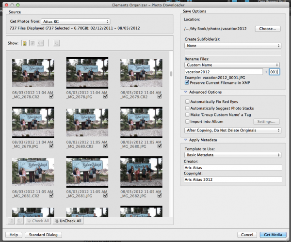 Using Photoshop Elements Camera Downloader