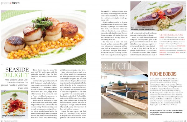 Food photography by Aric Attas for Palm Beach Illustrated magazine. Citrus Grillhouse, Vero Beach, Florida.