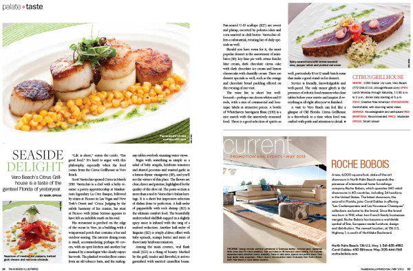 Food photography of Citrus Grillhouse in Vero Beach, Florida featured in Palm Beach Illustrated Magazine.