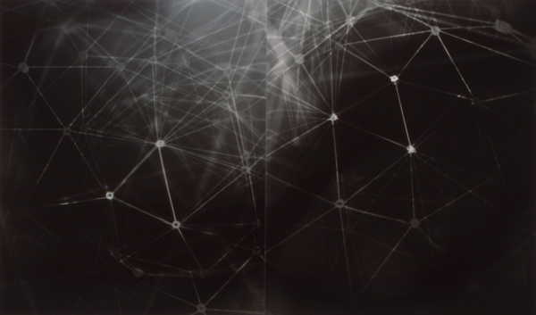 "Aric Attas, Web, Unique Photogram Inspired by Relativity & Quantum Physics, Black & Silver Resin Coated Photo Paper, 24 x 40"", 1996"