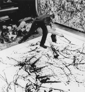 Jackson Pollock making one of his drip paintings