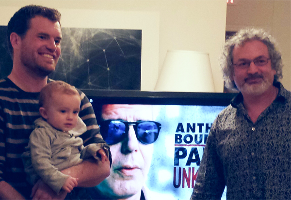 Mo Fallon and son with Aric Attas discussing  Anthony Bourdain: Parts Unknown at Creative Sparks