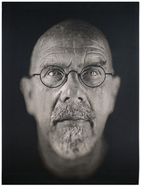 "Self Portrait, 2009, Jacquard tapestry, 103"" X 79"", image © Chuck Close"