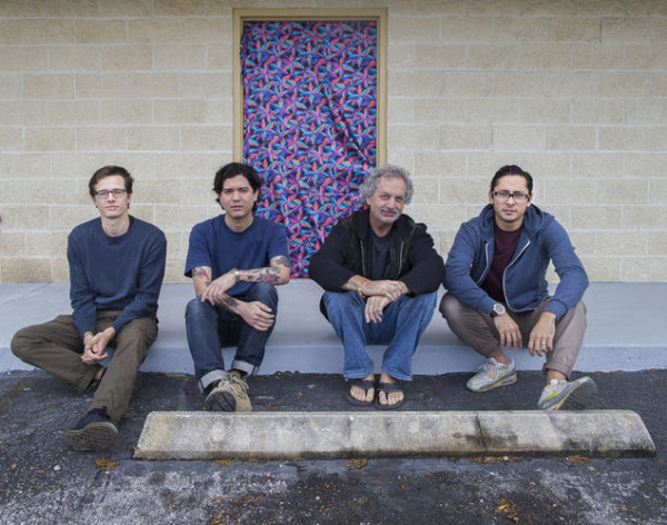Jared M. Thomas, Augie Ruiz, Aric Attas and James Ruby Barsalou in front of Project Space 1785. Photo by Ben Hager.