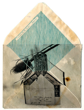 RACHEL PHILLIPS, Blue Satin House, 11 x 14 inches framed, Wet transfer pigment on to vintage envelope