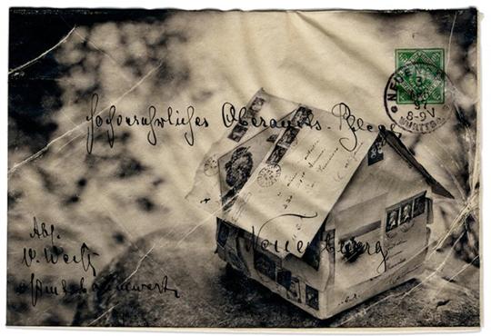 RACHEL PHILLIPS, Dusk 1897, 11 x 14 inches framed, Wet transfer pigment on to vintage envelope